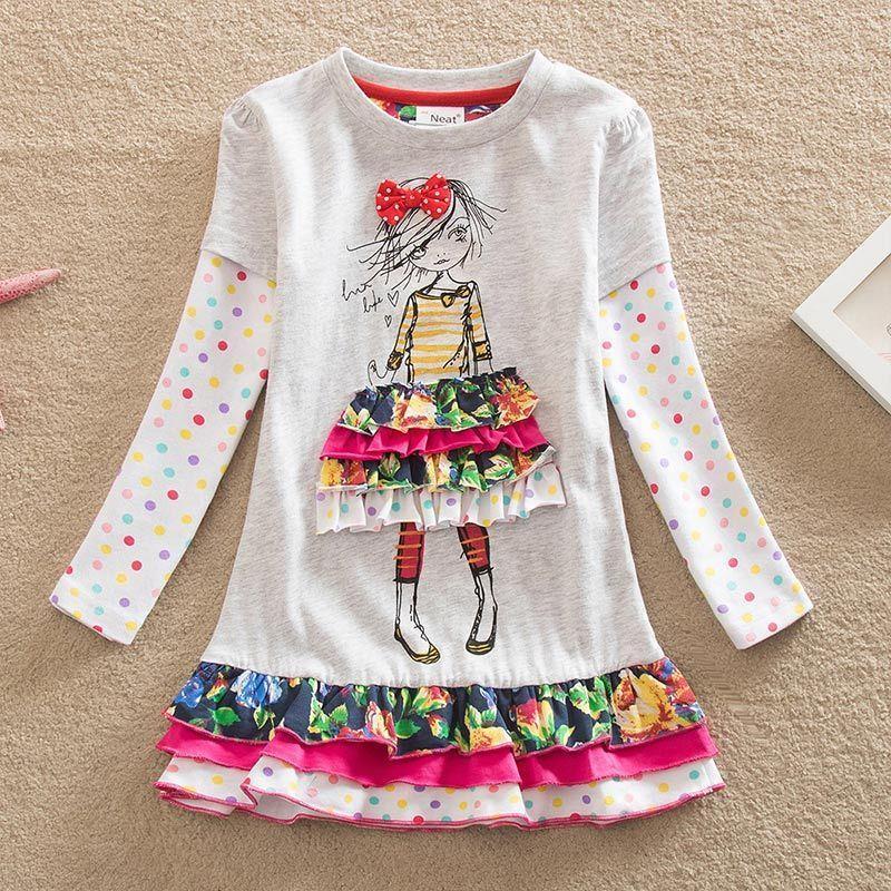 DXTON Girls Dress Baby Girls Ropa invierno Cacual traje niños vestidos para niñas Navidad Princess Ropa LH3660 2-8Y 201203