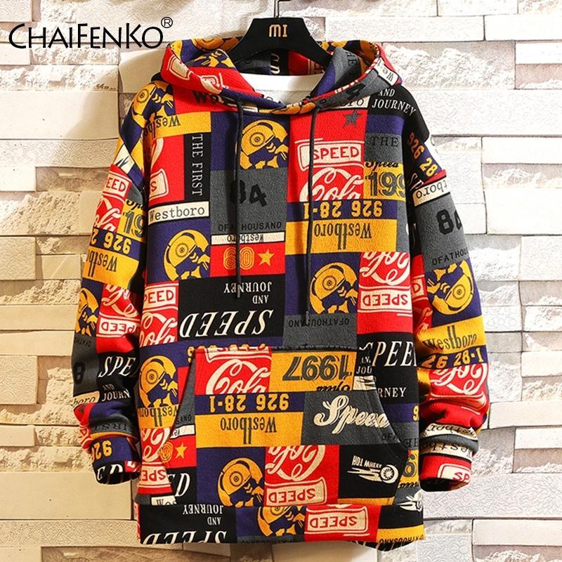 CHAIFENKO Fashion Brand Hip Hop Men Hoodies Spring Autumn Casual Printing Hoodies Sweatshirts Men Oversized loose Hoodies 201113