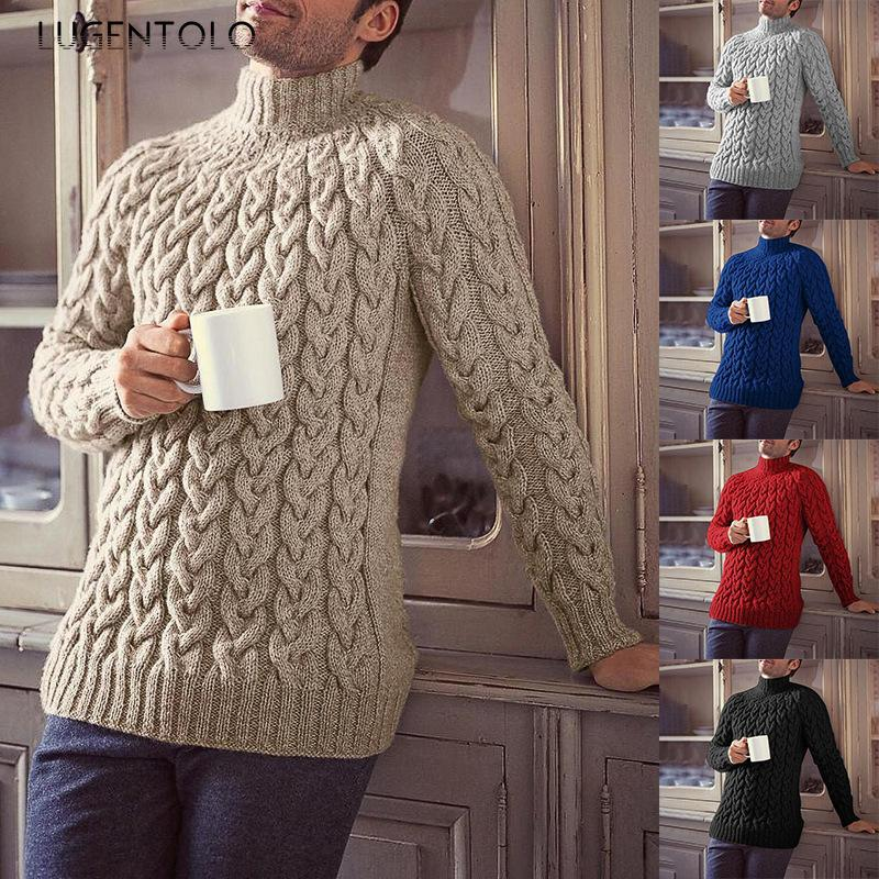 Lutruentolo Sweater Hommes Grand Taille Solide Turtleneck Casual Bulling Pulls Jacquard Slim Manches Longues Sweater