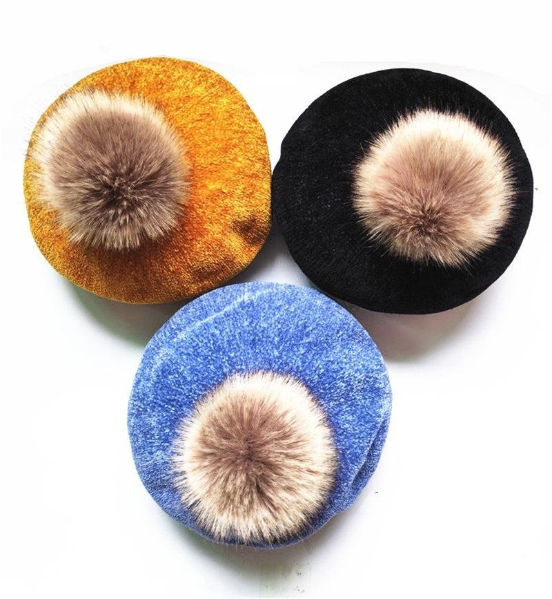 Casual poliéster piel de lana de invierno Niño suave de las mujeres Otoño Pom boina capsula los sombreros Gorras