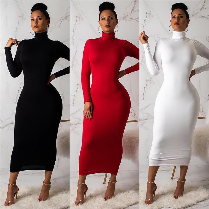 2020 Sexy женщин бинты платье осени Водолазка с длинным рукавом Тонкий Bodycon платье Мода Высокая шея клуб Оболочка Wrap платья