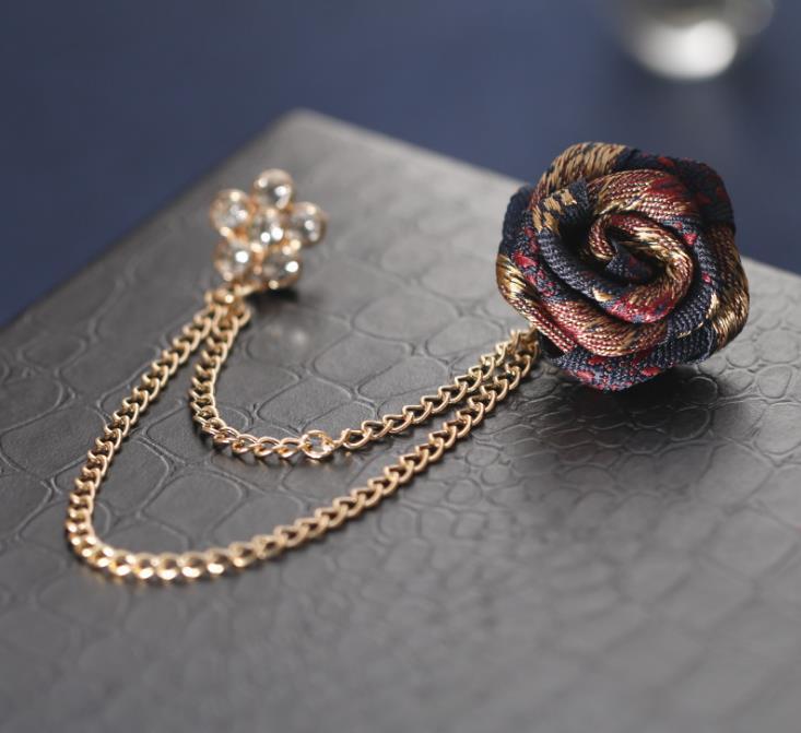 2021 ZB49 Fashion New Cac029 Coreano Colore misto Rose Diamond Collar Pin Fashion Suit Suit Brooch Collar Catena