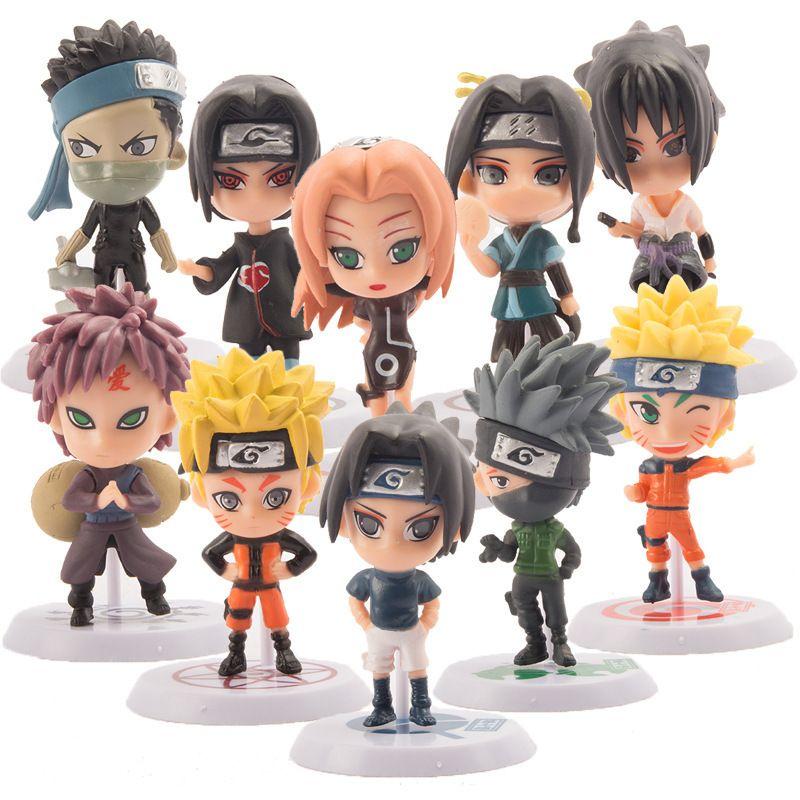 10 Adet heykelcik Naruto anime Naruto figür oyuncaklar sasuke kakashi Sakura gaara pvc aksiyon figürü oyuncak modeli toplama bebek hediye 1008