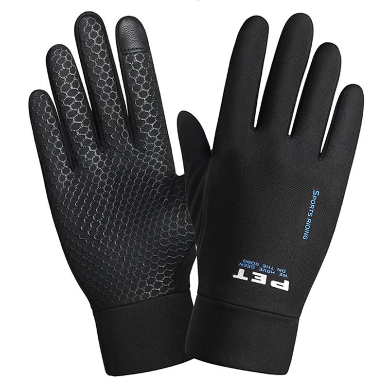 Touch screen gloves for men's autumn winter waterproof, warm plush cycling, windproof, outdoor mountaineering and running, antiskid