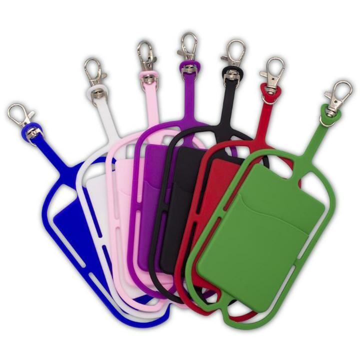 Silicone Lanyards 전화 케이스 홀더 스트랩 넥 스트랩 목걸이 슬링 카드 유니버설 모바일 휴대 전화 교수형 로프 GWC2638에 매달려