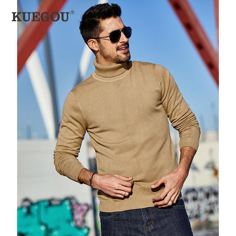 KUEGOU 2020 Outono preto liso camisola de gola alta homens pulôver Casual Magro Jumper por Homem Marca roupa feita malha 89002 201110