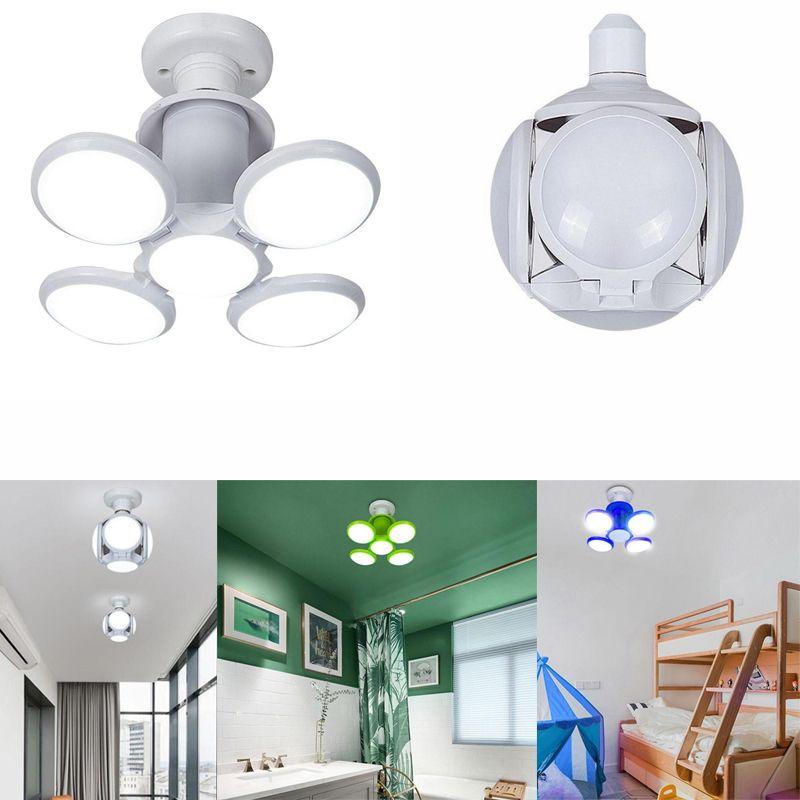 E27 4 Blades LED light Folding LED ball Bulb folding Night Light Pendant Lamp Ceiling Light Angle Adjustable Bulbs for School Warehouse Home