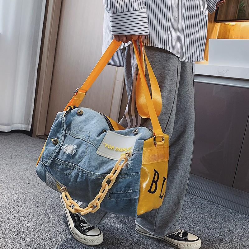 Fashion Oxford Sac de voyage Femmes / Hommes Sacs à bagages Case Big Travel Duffle Week-End Sac Mâle / Femme Denim Patchwork Gym Sacs