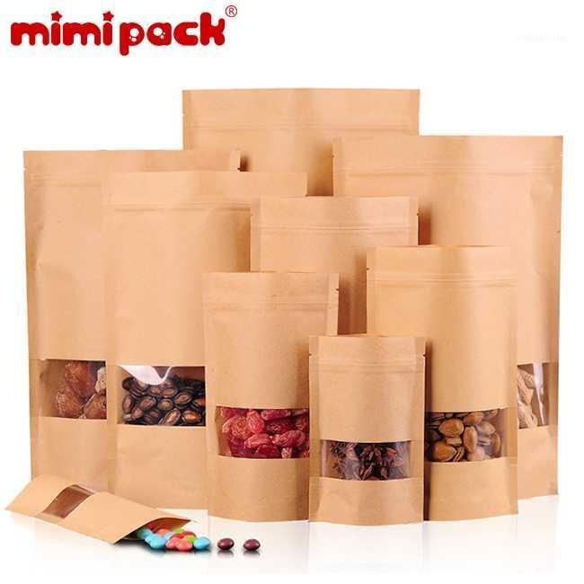 Mimipack Natural Natural 6 mil Kraft Stand Up Pochettes Présentarières Sacs en papier avec fenêtre dégagée, ensemble de 501