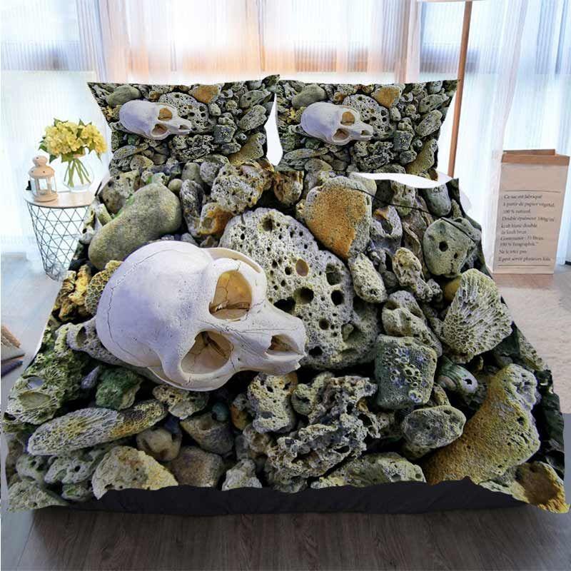 3pcs Bedding Cotton Set Super King Duvet Cover Set A Skull Like White Appears Reef Home Luxury Soft Duvet Comforter Cover