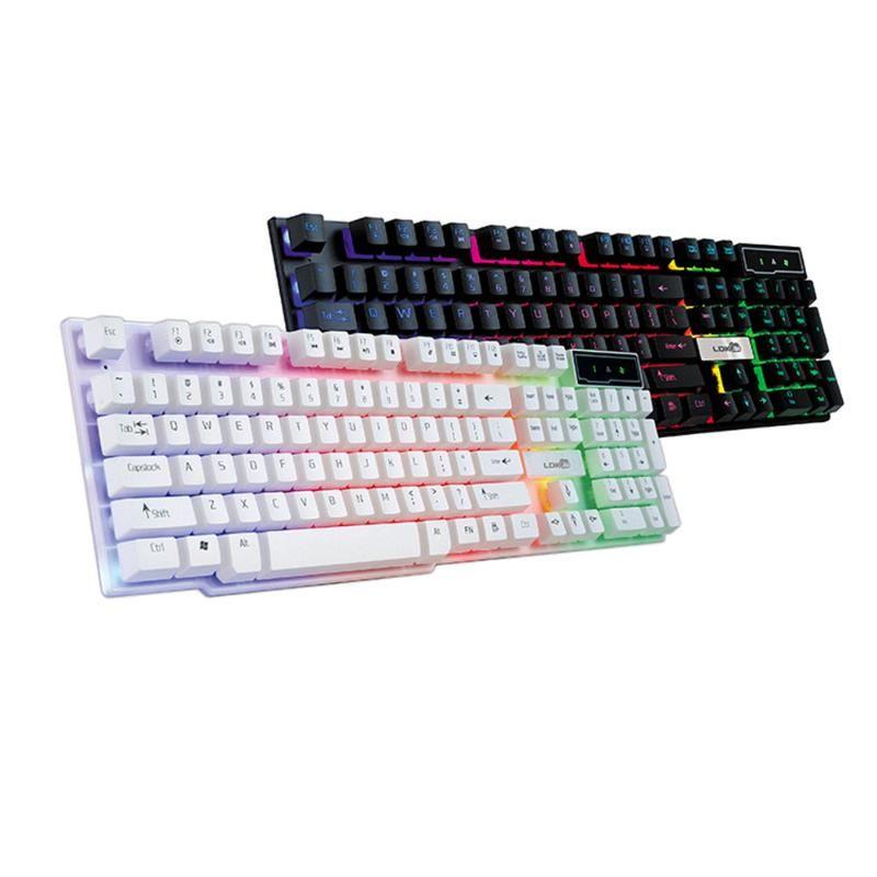Colorido USB grieta iluminado LED retroiluminada con cable PC del arco iris Teclado para juegos con cable USB de la PC del arco iris Gaming Keyboard Ratón