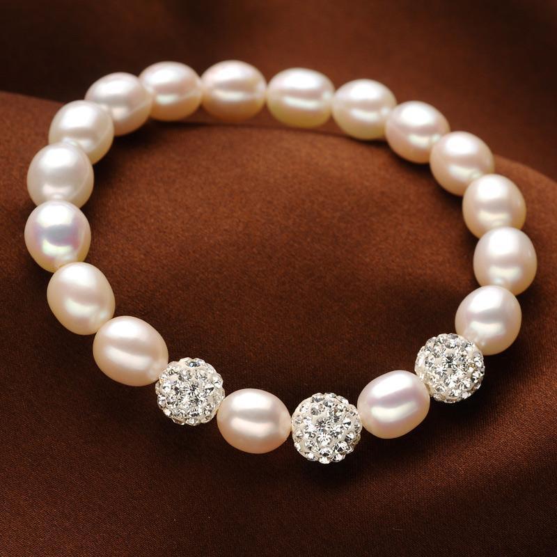 OSHUER hohe Qualität 8-9mm Baroque Armband Natural White Süßwasser-Zuchtperlen Armband für Wahl Weihnachtsgeschenk für Frauen Schmuck