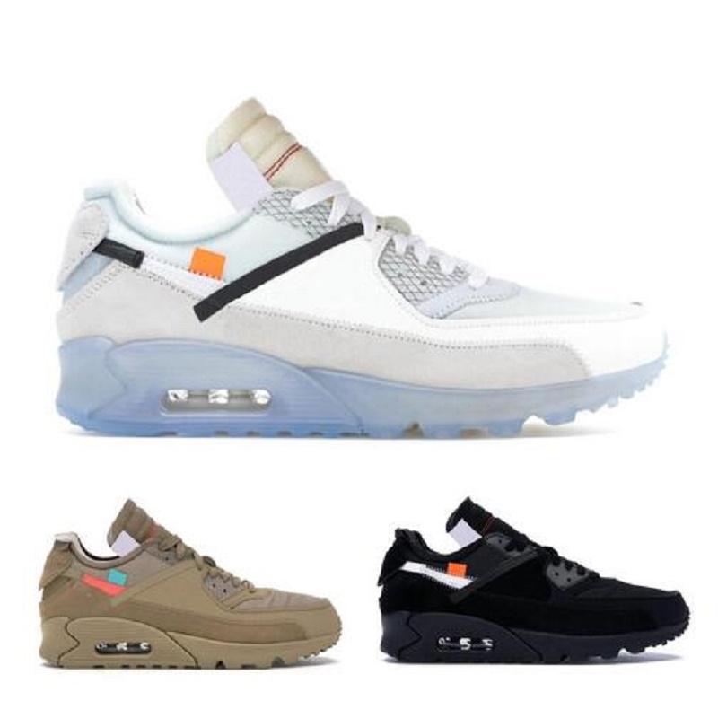 جديد 90 الصحراء خام أحذية رجالي أسود أبيض الاحذية أعلى الرجال النساء 90S الرياضة أحذية رياضية الحجم 40-45