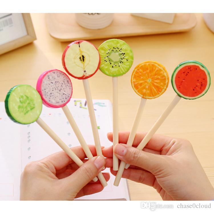 Yaratıcı Komik Renkli Meyve Lolipop Simülasyon Tükenmez Kalem 6 Stil Opsiyonel Plastik Karton Petrol Mürekkep Tükenmez Kalem