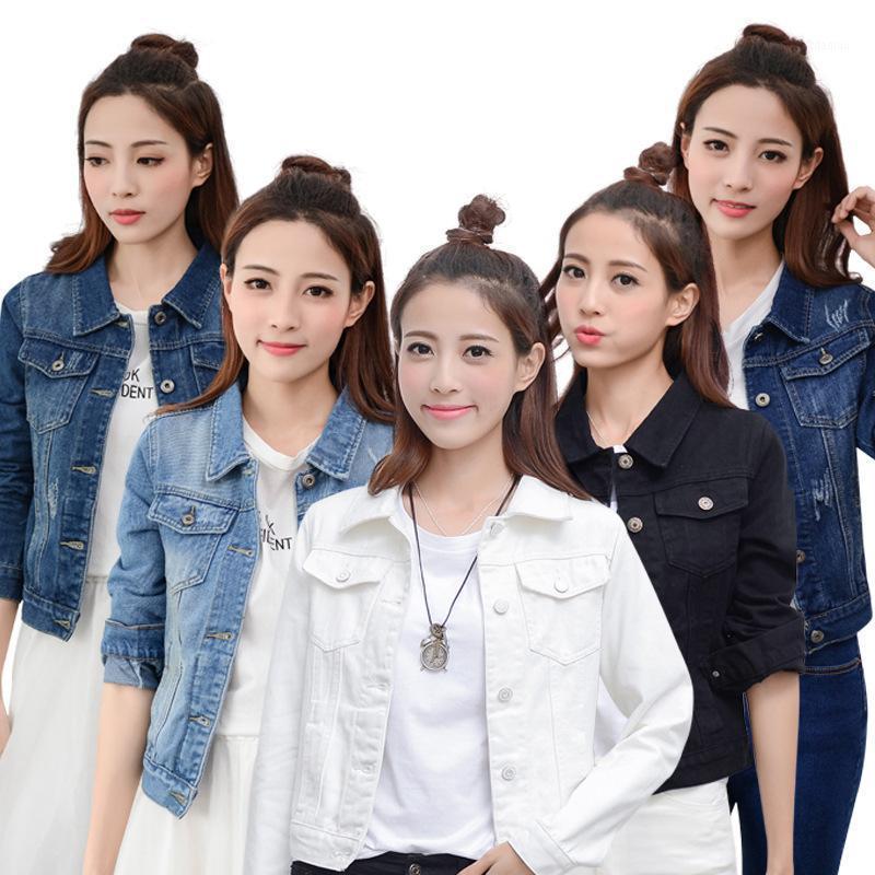 FnOce 2020 Nouvelles vestes Jeans pour femmes Vestes Trends de mode Casual Solide Manches Longues Simple Slim Denim Manteaux Jackets1