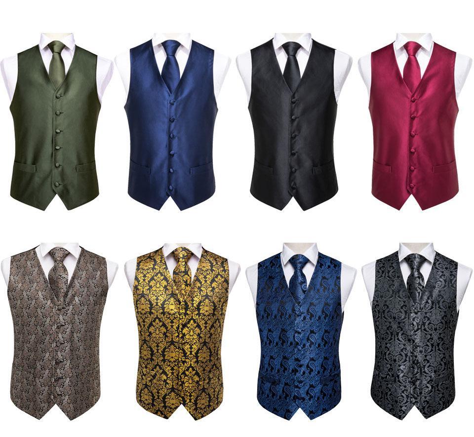 Hi-Tie Paisley Erkek Seti% 100 İpek Siyah Altın Yelek Yeni Tasarım Elbise Takım Elbise Yelek İçin Erkekler Düğün İş Örgün Ceket