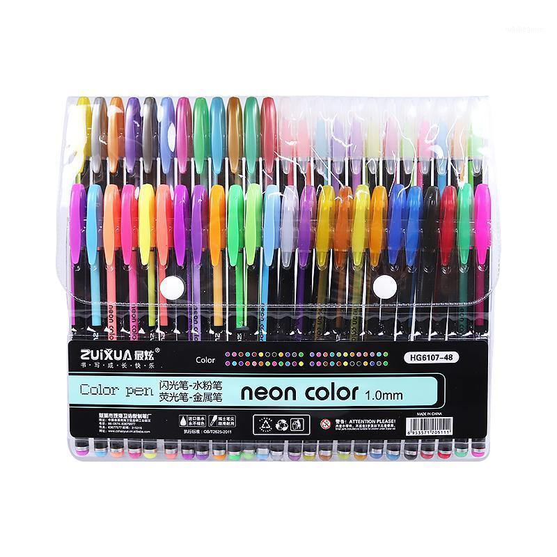 Zuixua Neon Color Creativo Metallo Gel colorato Penna 14/16/24/36/48 Colori Penna neutra Penna Super Smooth Coloring Books Journals Graffiti1