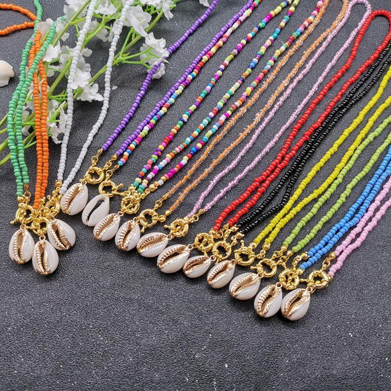 17 Стиль Цвет шарики Choker ожерелья для женщин богемского Природные Shell ожерелья женщина 2020 Моды ювелирных изделий нового прибытия
