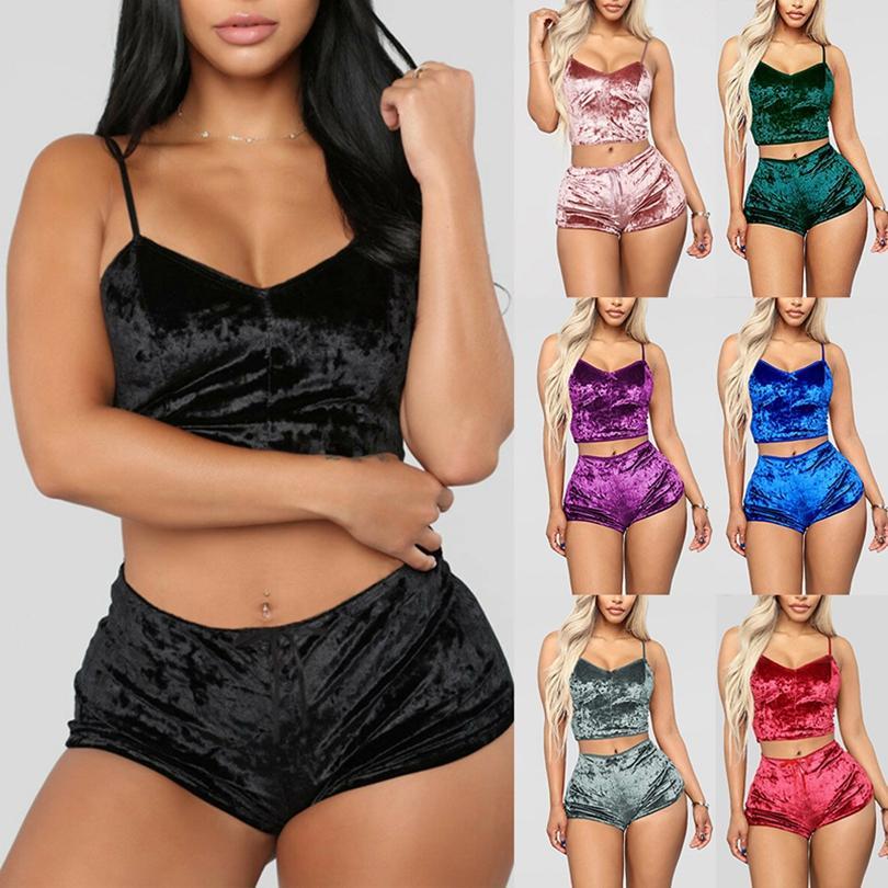 Moda Mulheres Sexy Velvet Pajama Define Ladies Lace V-Pescoço de culturas Tops Shorts 2Pcs / Set Pijamas Pijamas Conjuntos HHA1670