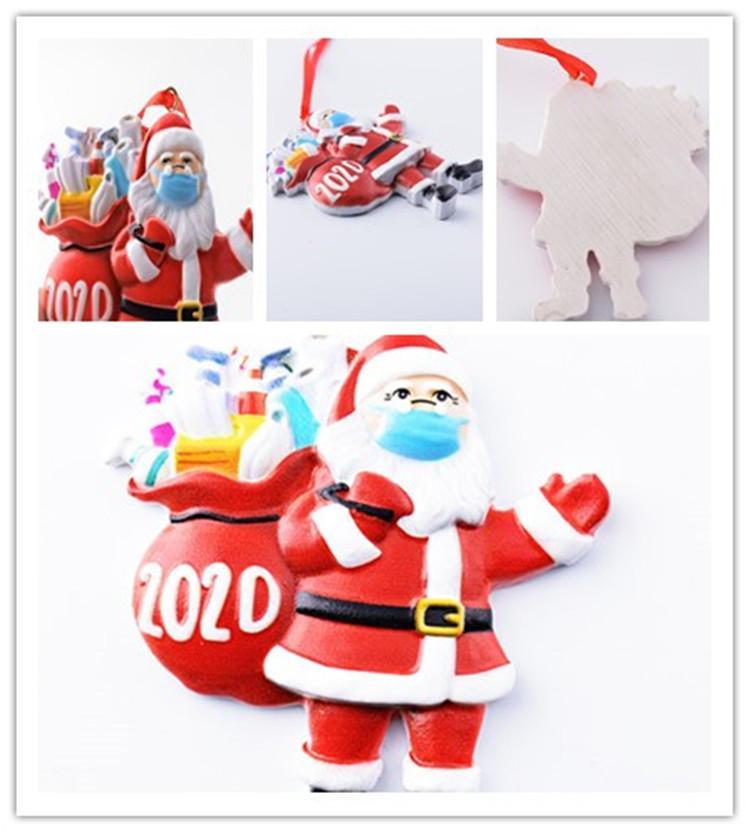 2020 عيد الميلاد زخرفة الحجر الصحي سانتا كلوز مع قناع شجرة عيد الميلاد ديكورات شجرة عيد الميلاد ديكورات شنقا قلادة الهدايا في المخزون