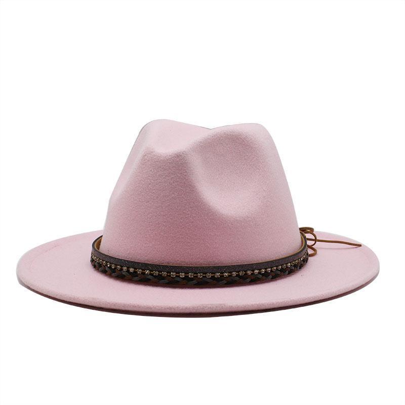 Широкие шляпы Breim Hat Simens Womens Hat Fedora Spring Boater Boater летняя большая мода имитация шерсти мужская войлочная гибкая