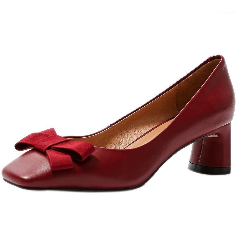 Autospin Nuove Dolce Dolce Pompe in Pelle Genuine 2020 Ladies Summer Autumn Butterfly Knot Party Tacchi alti Nero Donne rosse Scarpe da donna1