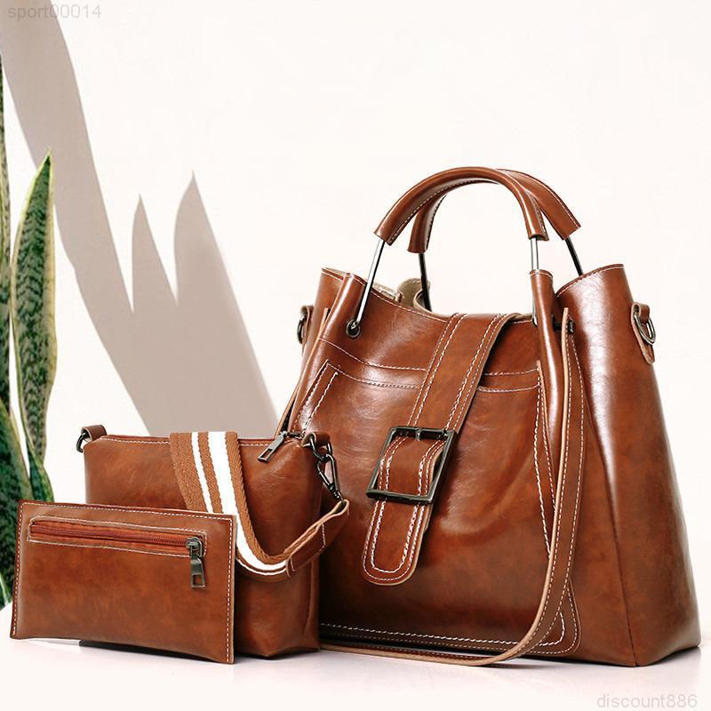 3 шт. / Установить Tote Дама Сумка сумка Bolsa Кожаные Женщины плечо Высокое Качество Посланник PU Композитный набор Женский DQSOB