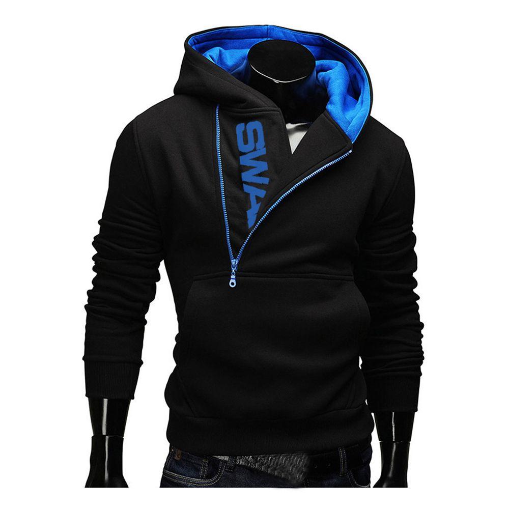 Cap Hoodies Laamei Hommes Collier Fashion Oblique Zipper Survêtement Patchwork hommes Sweat-shirt à manches longues Pull Taille Plus M-3XL