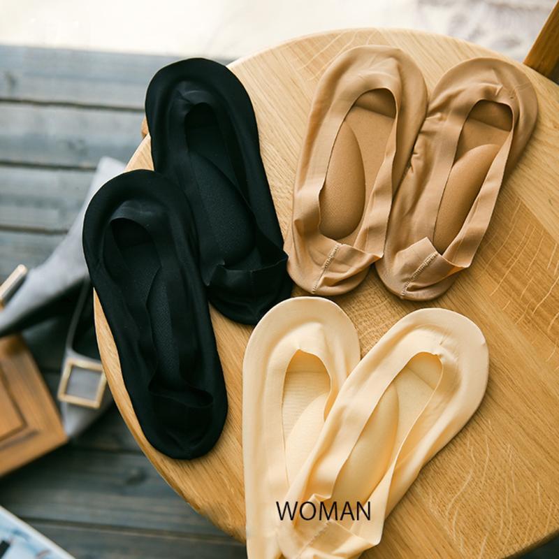 Socken Strumpfwaren 2021 Bogenstütze 3D Boot Fuß Massage Pflege Frauen Eisseide mit Pads Unsichtbare Einlegesohlen Sommer Atmungsaktiv