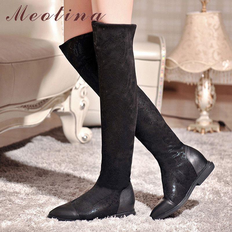Sonbahar Uyluk Yüksek Kadınlar Doğal Hakiki Deri Yüksekliği Diz Çizmeleri Artan İnce Sivri Burun Ayakkabı