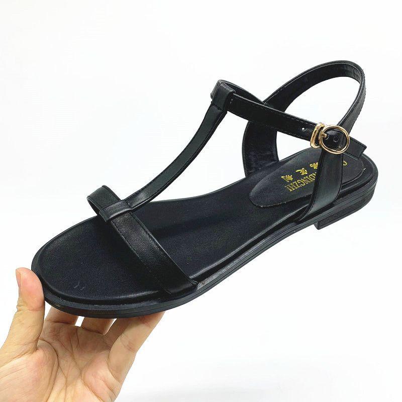 Nemaone 100% de cuero genuino sandalias de mujer nueva tobillo de verano sandalias flip flops tamaño 33-43 zapatos sandalia plana y200702