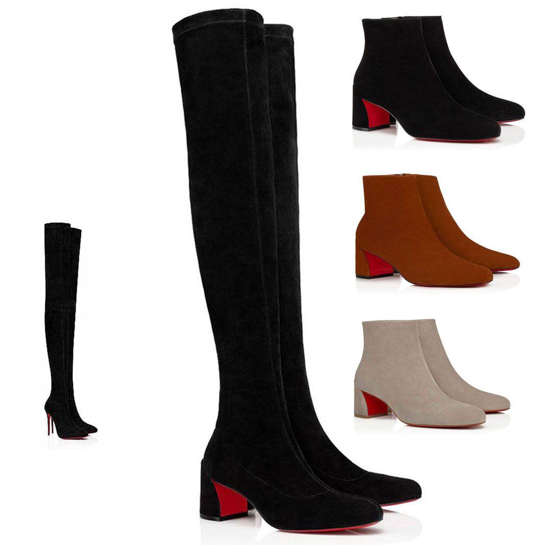 سميكة مهر الكعب أحذية السيدات الشتاء مثير المرأة طويلة قطع الأحمر أسفل الأحذية الارض التمهيد alta eloises أحذية الكاحل الأسود البني مع صناديق