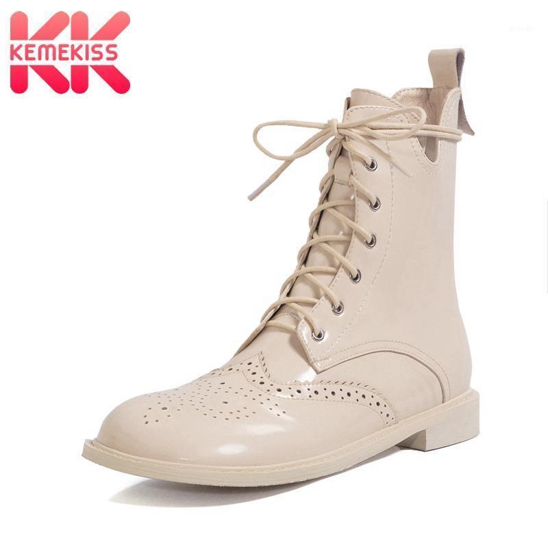 Stivali Kemekiss Real Leather Women Donne Fretwork Fretwork Round Toe Zipper Shoes Cross Strap Winter Warm Party Footwear 33-401