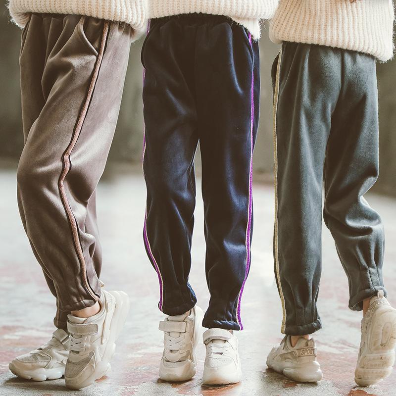 Pantaloni invernali per ragazze Pantaloni adolescenti Pleuche Pantaloni Pleuche Pantaloni sportivi a strisce spesse Pantaloni sportivi Casual 12 13 14 anni Scuola bambini bambini Pantaloni per bambini 201207