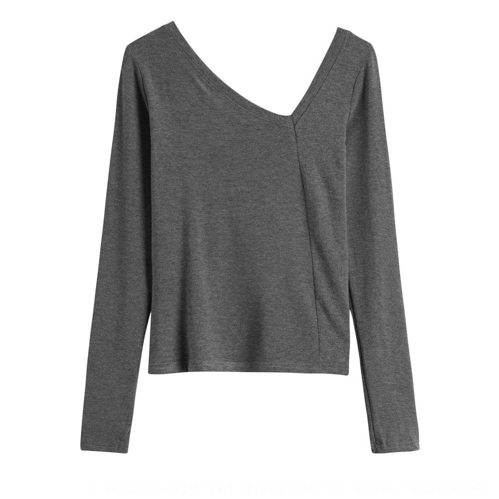 yDFO2 superior 2020 mujeres del estilo de Corea del Escudo máquina de gran V-cuello de la camiseta de otoño hombro inclinado clavícula abierta adelgazan la capa de manga larga con cuidado T-