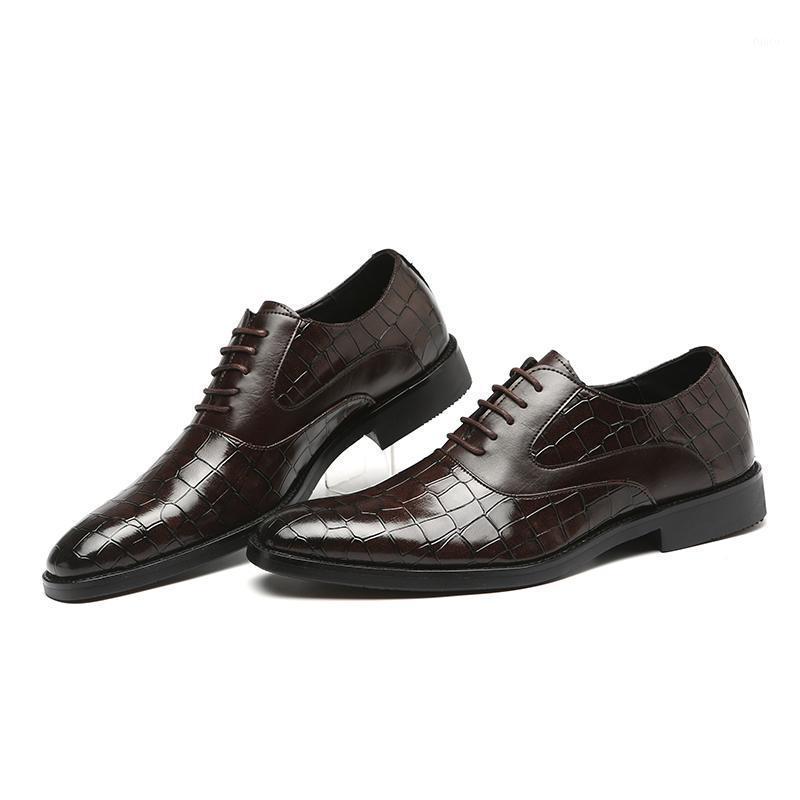 Обувь платье мужчины мода формальный костюм Оксфорд заостренный носок на шнуровке крокодиловые кожи классические случаи кожи 5 цветов 38-481