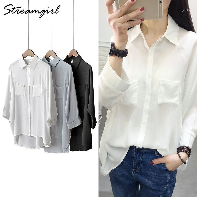 Botón de sobredimentación blanco de las mujeres Camisas de la gasa suelta Blusa de murciélago larga Blusa de verano para mujeres de gran tamaño Top1
