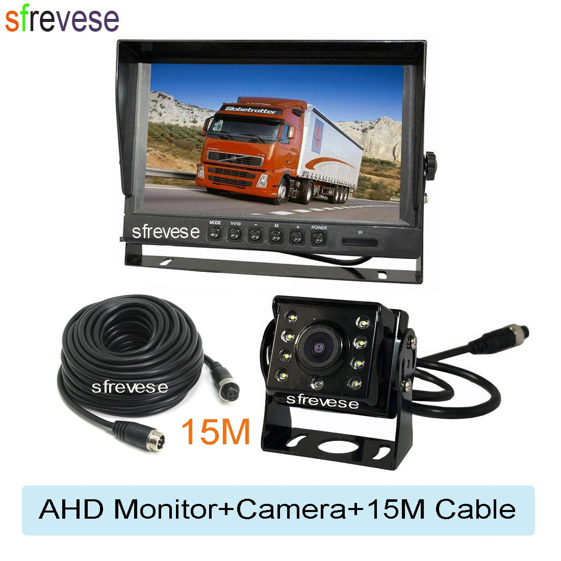 "9 ""IPS HD SD DVR-Aufnahme 4Pin 2CH 2CH Split Car Rückansicht Monitor + wasserdicht AHD 1080P Umkehrung Backup-Kamera für Bus-Truck-Kit"