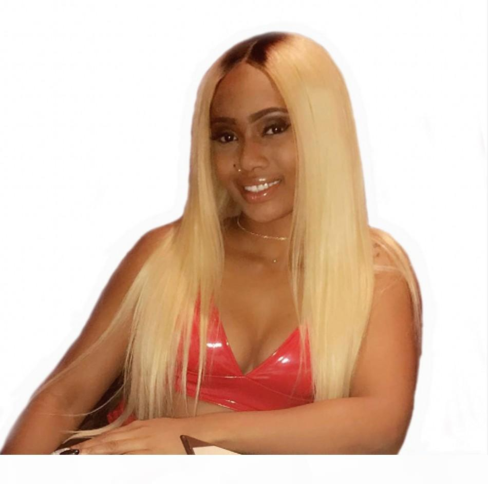 Parrucche anteriori del merletto dei capelli diritti 1b 613 parrucca anteriore brasiliana Glueless Parrucca brasiliana dei capelli umani con radici nere scure