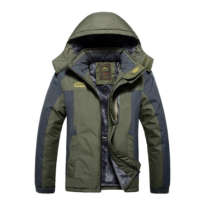 Outono-Inverno Caminhadas de Inverno casacos quentes impermeável Pesca Jackets Men lã grossa Outdoor Caminhadas Escalada Brasão M-9XL n