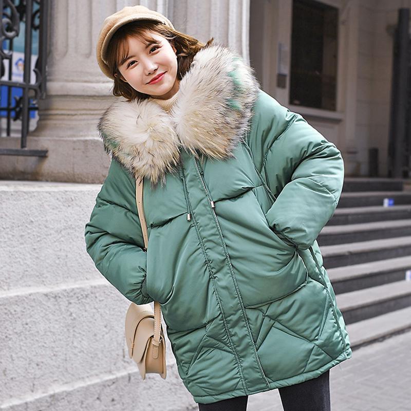 Warm Winter Jacket Women Fashion Hooded Fur Collar Down Cotton Coat Women Korean Solid Color Loose Large Size Female Coat 201016
