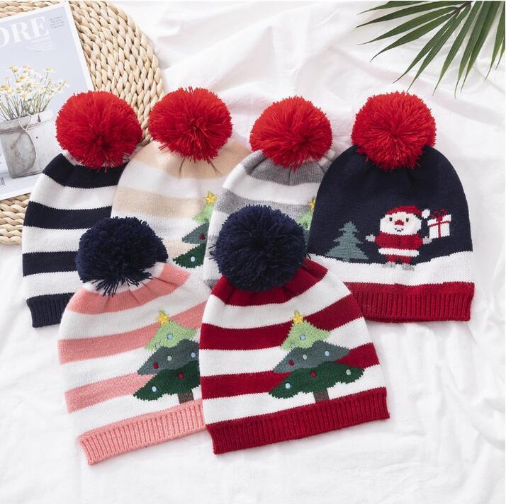 Children Knitting Hat Striped Xmas Tree Pattern Warm Hat Winter Outdoor Baby Ski Caps kids Pom Pom Beanies Baby Warm Skull Cap LSK1495
