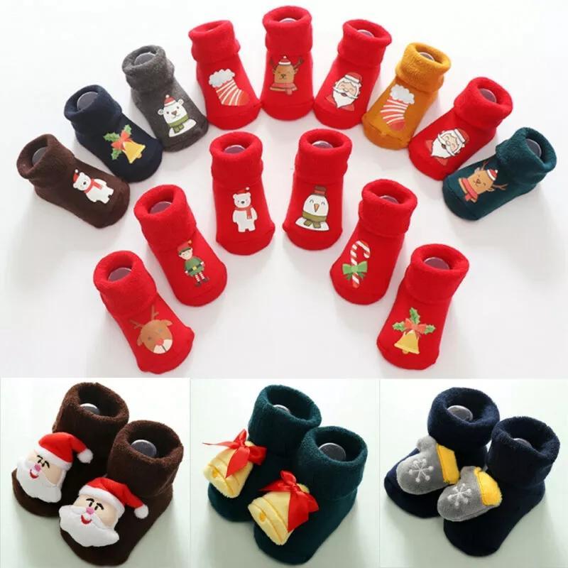 Calzini del bambino appena nato di Natale delle ragazze dei ragazzi di Natale Pavimento Calzino Anti-Slip Kid Passo calzini migliori regali per il bambino di natale