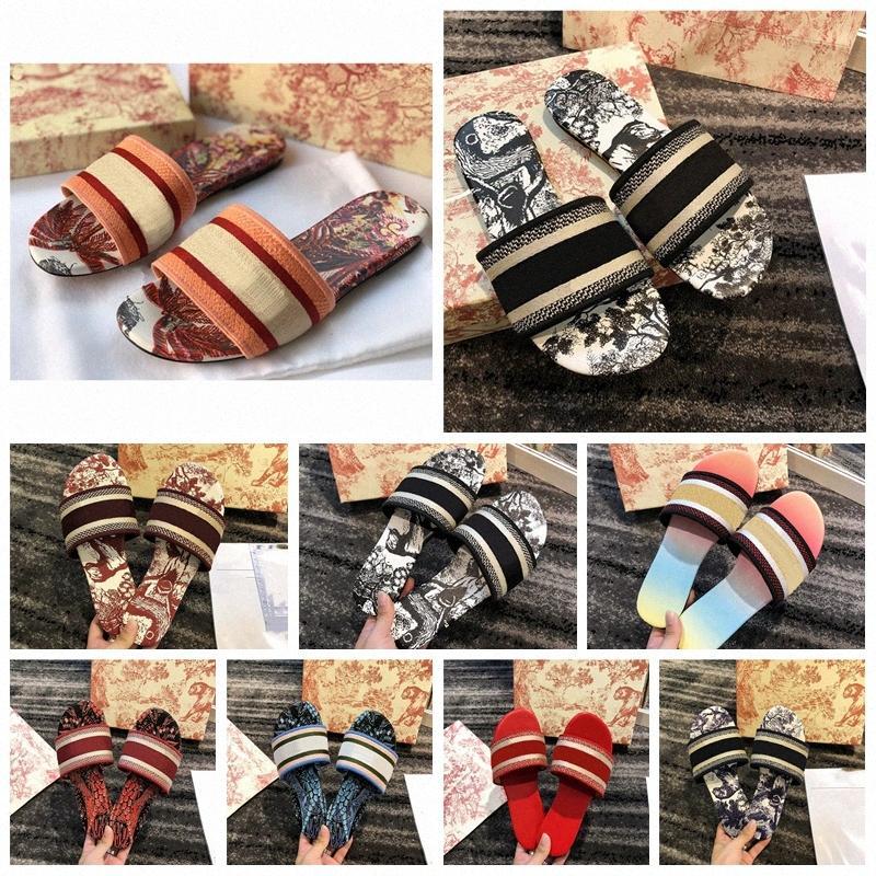 2021 Luxurys Tasarımcılar Ayakkabı Kadın Sandalet Terlik Nakış Sandal Çiçek Brocade Çevirme Çizgili Plaj Hakiki Deri Dazzle F L9KP #