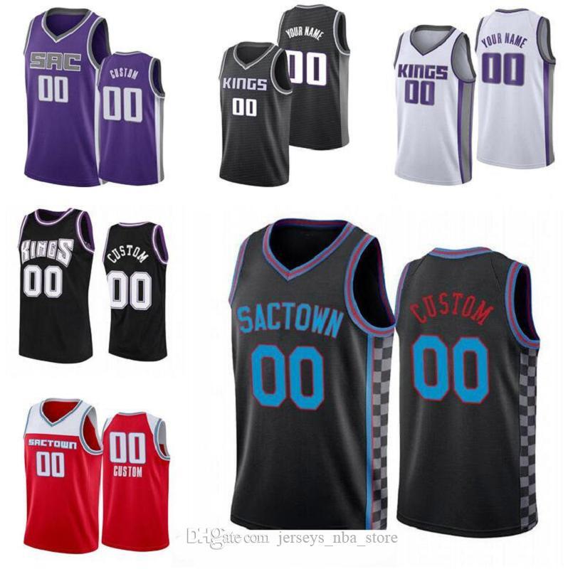 Hommes personnalisés Jeunesse SacramentOcity Team Hommes Deaaron 5 Fox 55 Williams 4 Webber n'importe quel nom et numéro Swingman Basketball City Jersey