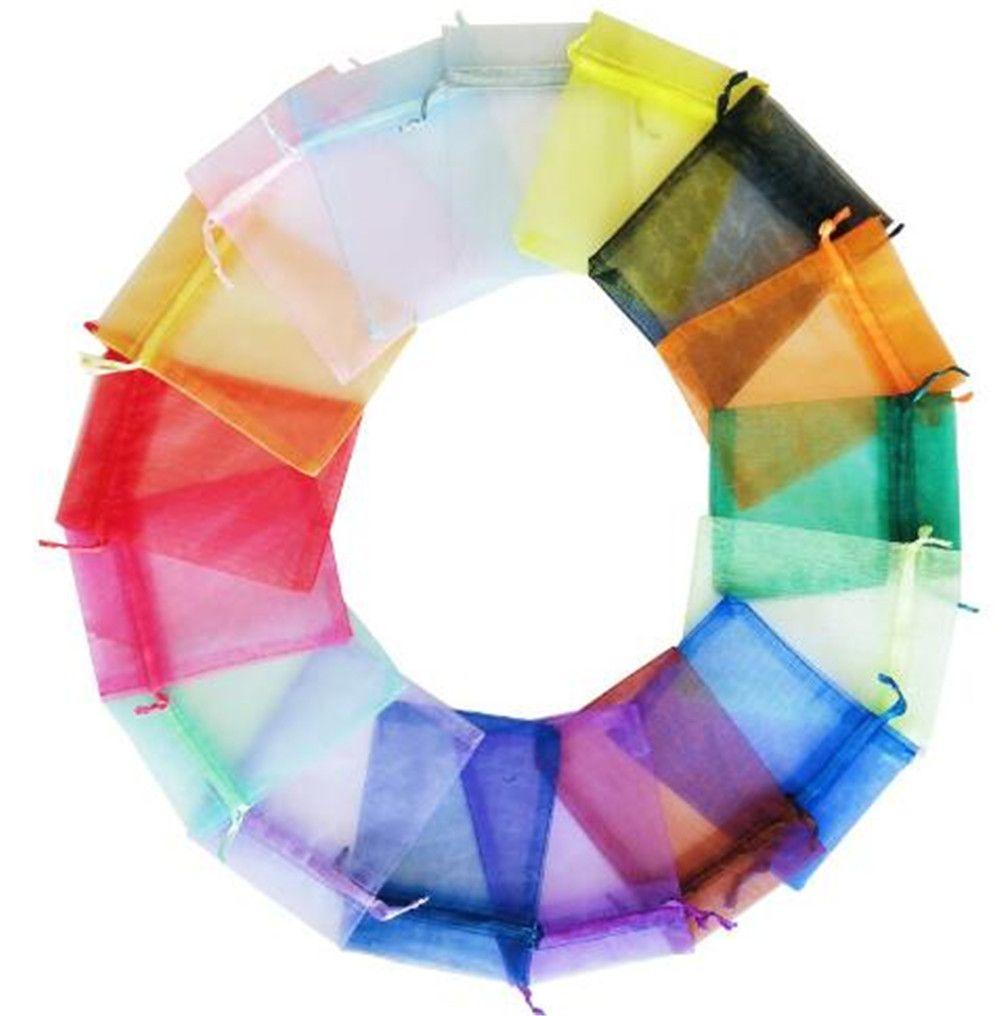 7x9cm Свадебные украшения Baby Shower органза сумки ювелирные подарки Party Favor конфеты рождения Поставки упаковки Гуди