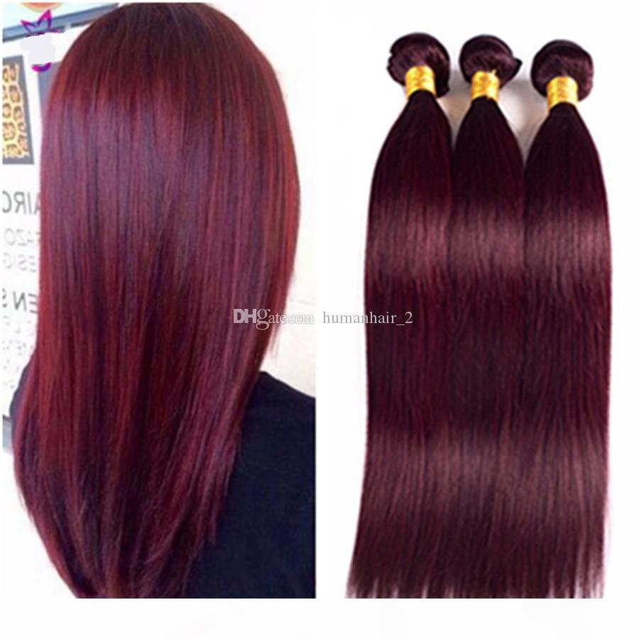 Venta caliente 99j Borgoña Bundles 3pcs LOTE NUEVO LLEGA NUEVO LLEGADO Brasileño Virgen Human Hair Extensions Seda recta vino rojo pelo rojo