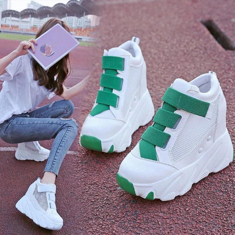 Mujeres zapatos vulcanizados altura creciente damas gancho gancho de malla zapatillas de deporte transpirable mujer casual plataforma plana calzado femenino # sl7y