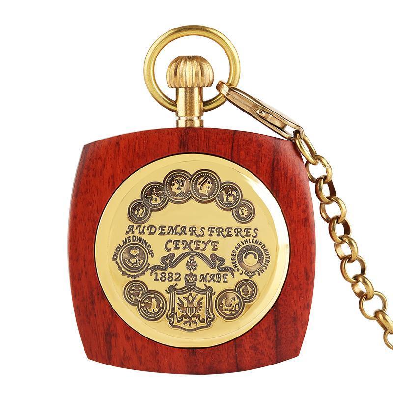 기계 회중 시계와 골드 체인 열기 커버 레트로 남성 시계 선물 2018 새로운 스타일을 감는 골동품 레드 나무 조각의 손