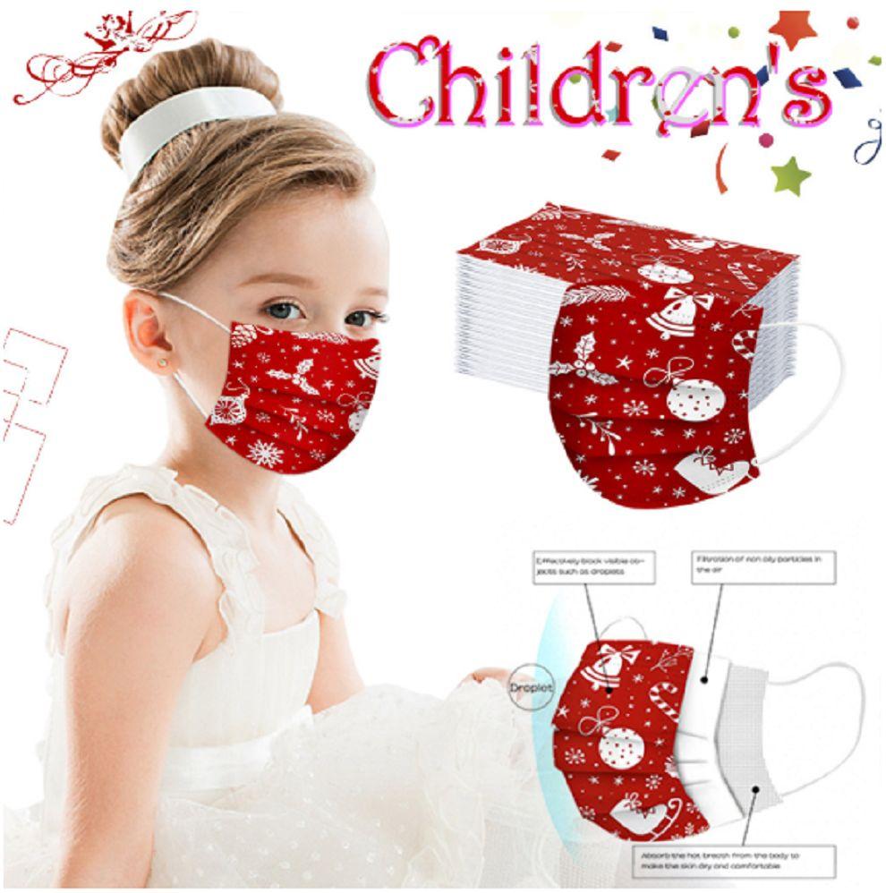 Рождественские детские маски 50 шт. 3-слойная лицевая маска для защиты маски и персональная маска для здоровья с ростом раковины лица X'mas
